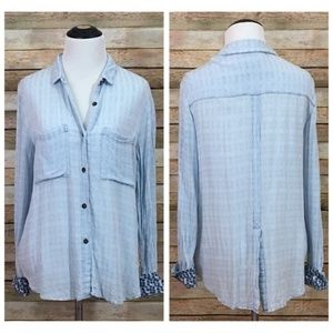 Anthro Holding Horses Button Down Top - Blue - XS
